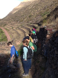 Students at the entrance to the village of Ollantaytambo