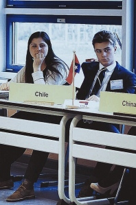 Lily Canaan, `15  and Jules Becker, `16 call the shots in the Security Council committee, a highly demanding and advanced committee at Model UN in Berlin